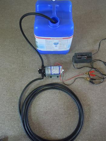 this is the same water pump that comes with the 25 gallon water tank.  it is sold as a seperate unit as well as with the tank the 12 volt pump can be used with any water source it only needs to be hooked up to a power source like a 12 volt battery or other power source