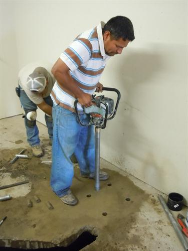 Mayo at Shaw Tool using the Shaw Portable Core Drill to drill into reinforced concrete