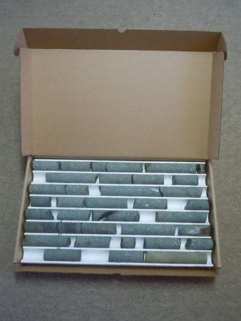 this is the 41 mm core box with basalt rock cores from Yamhill, Oregon