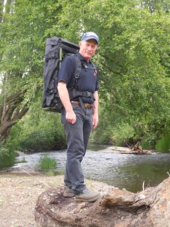Inventor Neil Shaw with Backpack Drill by Yamhill River
