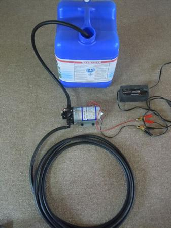 the 12 volt water pump is sold seperately as well as with the 25 gallon tank this way it can be used for any water source with the addition of a 12 volt battery.  batteries sold seperately